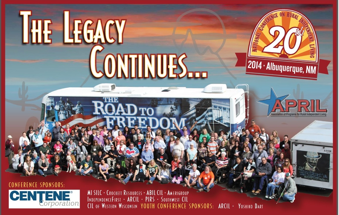The Legacy Continues: Picture of Road to Freedom Bus with APRIL Conference attendees in front and to the right a 20th National APRIL conference Logo.